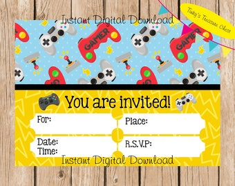 Gamer, Video Games, Gaming, Instant Download digital invitation. Birthday Party.  Print and fill in the blanks. Boys, Teenagers, Tweens.