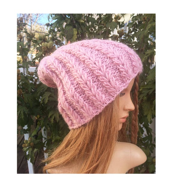 b74f0eaac92 This is a beautiful slouchy beanie created by me. Knit with soft wool  blended light pink yarn and beautiful rib stitches.Very warm and cozy for  cold winter.
