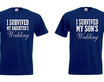I Survived My Son/Daughter's Wedding Novelty Navy Funny Tshirt - Gift/Keepsake/In Law