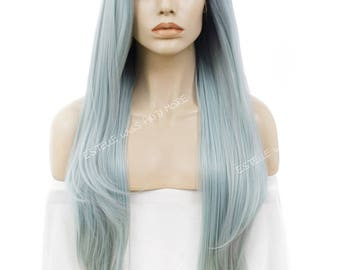 Black/Dark Blue Mix Roots Ombre Pale Blue Extra Long Straight Layered Side Part Synthetic Soft  Swiss Lace Wig