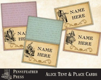 Printable Alice In Wonderland Place Card Tent Card Party Printables Alice In Wonderland Decoration Clipart Graphics Instant Digital Download