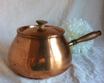 On Sale Vintage Tagus copper pot with lid. Made in Portugal.