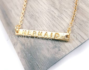 FREE SHIPPING Mermaid Necklace Mermaids Engraved Bar Necklaces Stamped Dainty Gold Plated Chain Kawaii Necklace Best Friend Accessories