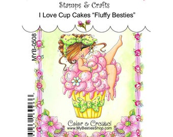 """MY BESTIES Clear Stamps 4""""X6"""" - I Love Cupcakes Fluffy"""