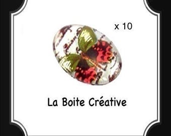 10 CABOCHONS oval Butterfly green, red and black in glass 18 x 13 mm