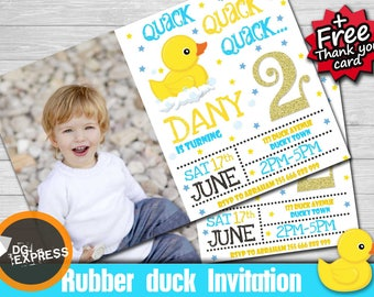 "Rubber Duck Birthday Invitation photo ""RUBBER DUCK INVITATION"" - Digital Rubber Duck Party Invite, Rubber Duck Printable, Rubber Duck"