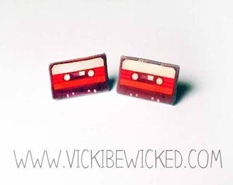Cassette Tape, Music, Old Skool, Stud Earrings