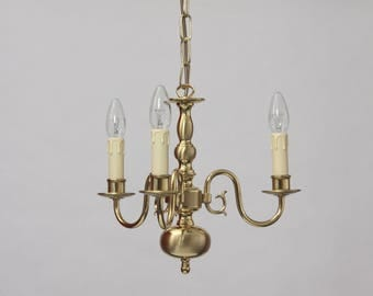 Flemish Chandelier Brass polished/matt, 3xE14