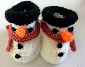 Hand-knitted Snowman Baby Bootees~Newborn