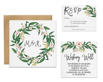 Foliage Wedding Invitation | Watercolour Greenery Invitation Set | Floral Wedding Invitation Suite | Bridal Shower Invitation | Australia