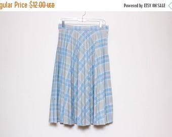 30% OFF VTG 50s Blue Plaid Pleated High Waist Swing Rockabilly Skirt M/L