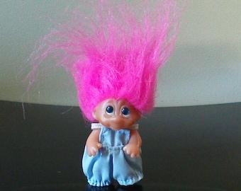 "Vintage Dam Troll Doll Pink Hair Blue Eyes Trolls 2.5"" Overalls 1985"