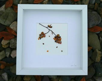 Irish pebble art, 'Falling Leaves', a handmade gift.