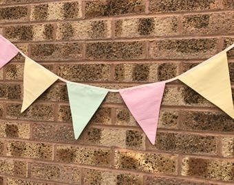 Handmade Bunting Pink Green Yellow Stripes