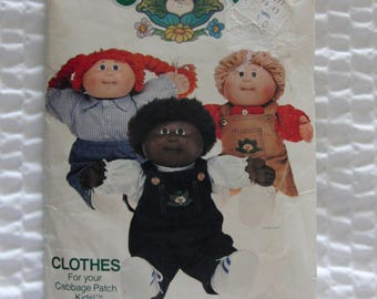 Vintage Butterick Sewing Pattern 6508 Cabbage Patch Dolls Clothes 1984