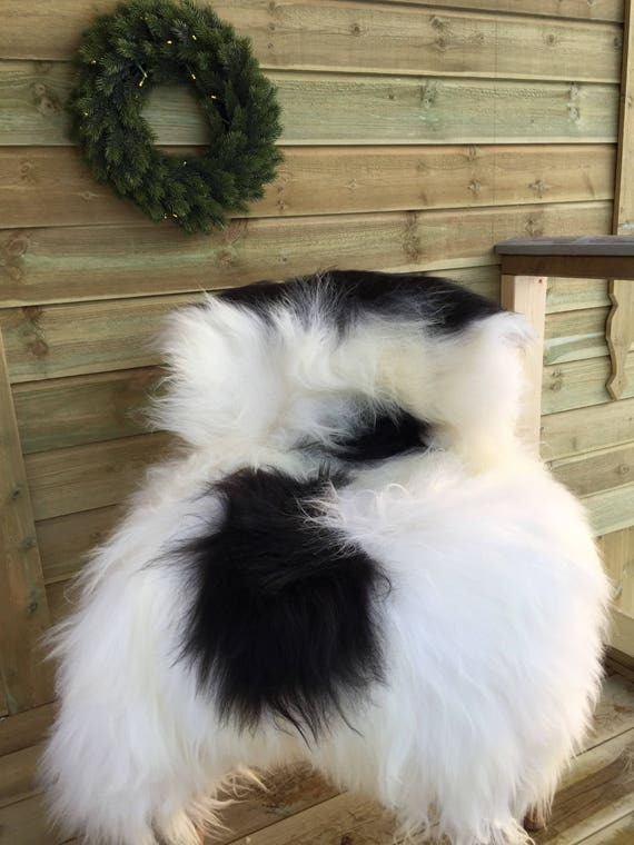 Spotted, long haired, large sheepskin rug spael sheep throw black, white - 17227