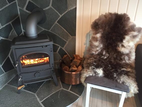 Decorative curly lush Sheepskin rug supersoft rugged throw from Norwegian norse breed medium locke length sheep skin brown white 18029