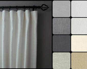 Blackout Linen Curtains: Pair of 100% Linen Curtain Panels in your choice of colors