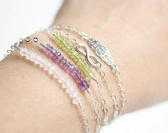 Beaded Bracelet, Silver Birthstone Bracelet, Minimal Bracelet, Bead Bar Bracelet, Gemstone Bracelet, Bracelet for Her