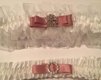 Wedding Garter, Bridal Garter Set, Toss Garter, Weddings, Keepsake Garter,  Lace Satin Garter, Bride Gifts, White Garter, Dusty Pink Garter