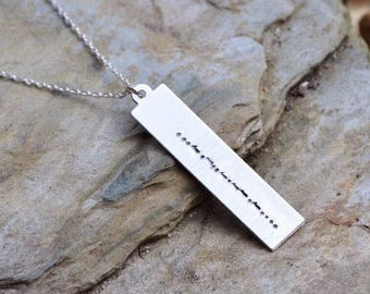 Personalized necklace, morse code necklace, morse code jewelry, morse code, secret message, gift for her, name necklace, bar necklace