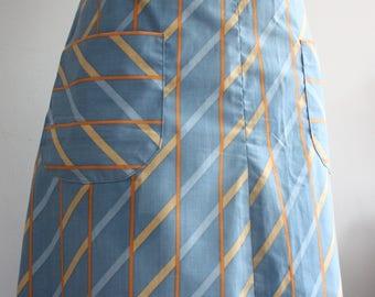 Vtg 70's Blue Abstract Aline Skirt