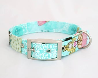 Handmade always a princess dog collar with silver metal buckle