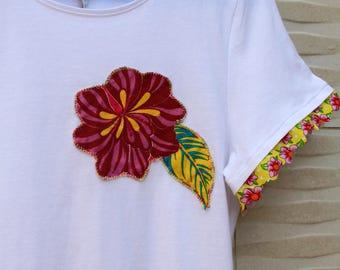 T-shirt with Brazilian fabric flower cheetah