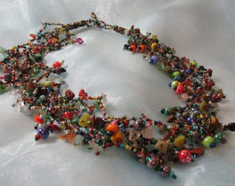 Festive Multicolored Assorted Glass Beads, Lightweight Necklace
