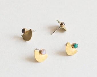 Suma Small Studs - Half Circle, Moon Stone Earrings