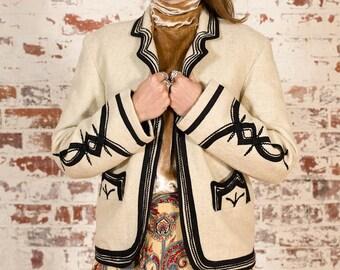 Vintage Wool Blazer / Folk Detail / Size 10