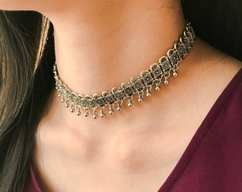 Bohemian Silver Chain Choker, Silver Chain Necklace, Layering Necklace, Bohemian Jewelry, Boho Jewelry, Gift for Her