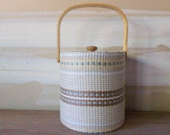 Georges Briard Ice Bucket / Wicker and Wood / Vintage 1950's / Mid-Century Barware