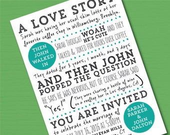 Fun PRINTED Wedding Invitation Suite// Love Story Wedding Invitation and rsvp card // Funny Wedding Invite and RSVP