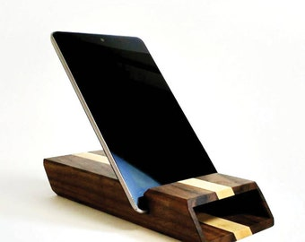 CHESTER 33 TX (Two-Tone) | Wood Tablet Amplifier & Stand - Handmade - IPad, Mini + Android Tablet Stand and Docking System by Konisa Studio