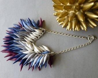 Siren Song / Blue + Plum + White Ombre Polymer Clay Spike Statement Necklace