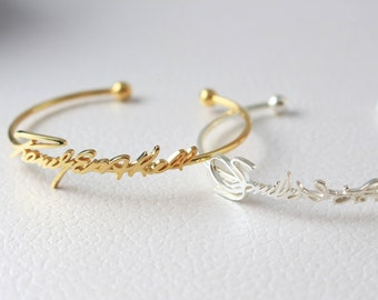 Handwriting Jewelry - Adjustable Signature Bangle - Handwriting Bracelet in Sterling Silver - MOTHER'S GIFT