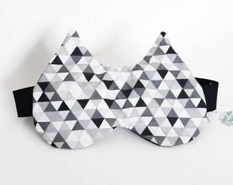 Sleeping mask, sleeping cat - black MONOCHROME geometric pattern (hide-eyes, rest, sleep, NAP)