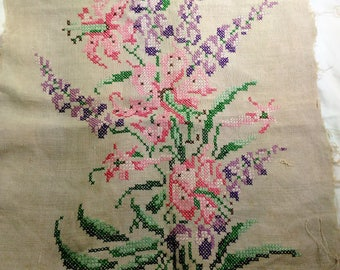 Floral Designed Cross Stitch/Hand Made On Beige Linen/ Raw Edges/ Multi Use Doly (U)