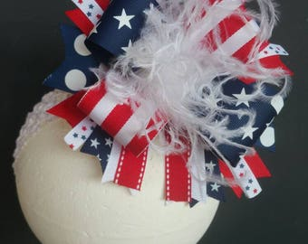 Old Glory 4th Of July Over The Top Boutique Hairbow Headband Ostrich Feather