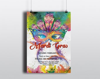 Mardi Gras Party Flyer Template | Mardi Gras poster, Mardi Gras Carnival  Flyer | MS Word, Photoshop & Elements Template | Instant download