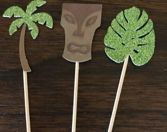 12 tropical cupcake toppers, luau party decorations.