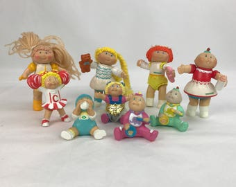 Vintage Cabbage Patch PVC Figures, 9 Cabbage Patch Dolls, Mini CBK Dolls, Collectible CPK Cabbage Patch Kids 1984 1985, 1980s Cabbage Patch