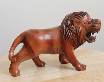Wooden Lion Statue, Hand made Wooden Lion, Carved Wood Lion, Wooden Lion Sculpture,