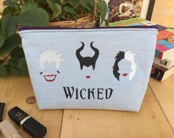NEW! Disney Villains 'Wicked' Flat Bottom Pencil Case Zipper Pouch Makeup Bag