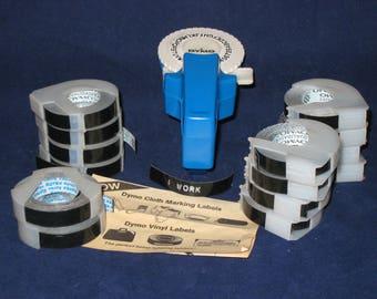 Dymo Mini Labelmaker/Vintage Dymo Vinyl & Cloth Marking Capable/Vintage Mini Dymo Blue Labelmaker with 14 Rolls of Black Vinyl Label Tape