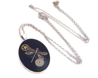 Steampunk Dragonfly gears necklace silver necklace