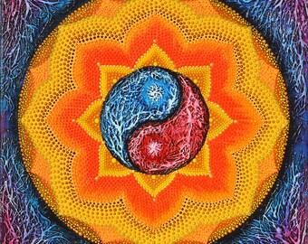Yin Yang Mandala/Dotillism Mandala/ mandala painting/ zen mandala/wedding gift/wedding gift idea/healing mandala/dot art/ yin yang symbol