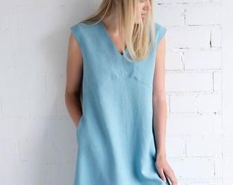 Linen Dress Motumo – 17S3 / Handmade loose and sleeveless linen summer dress / V neckline linen dress / Washed linen dress