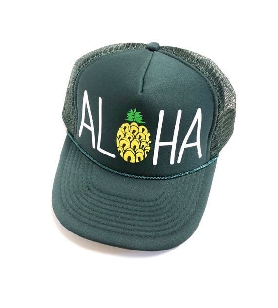 Aloha Trucker Hat| Aloha Hat| Pineapple |Hawaii Hat| Beach Hat|Trucker Hat| Forest Green with Screen Printed design